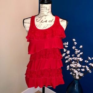 Red tiered lace cotton tank by Color Story
